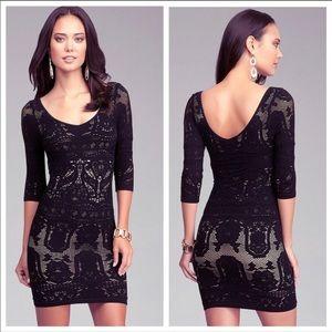 Bebe Lace Drama Black Bodycon 3/4 Sleeve Dress